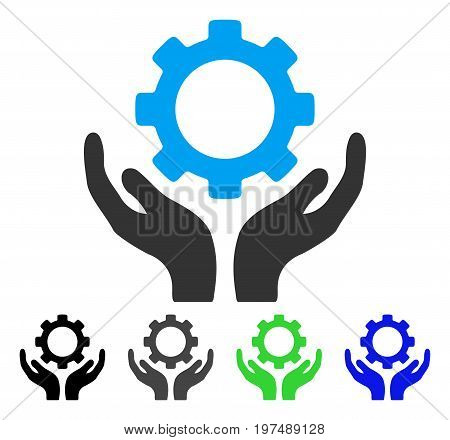 Gear Maintenance Hands flat vector illustration. Colored gear maintenance hands gray, black, blue, green pictogram versions. Flat icon style for application design.