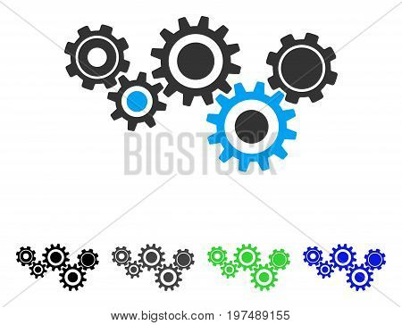 Gear Mechanism flat vector icon. Colored gear mechanism gray, black, blue, green pictogram variants. Flat icon style for graphic design.