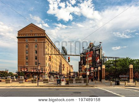 Baltimore Maryland USA - July 11 2017: A view of Eutaw Street between B&O Warehouse and Oriole Park at Camden Yards. Camden Yards was the first of the