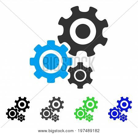 Gear Mechanism flat vector icon. Colored gear mechanism gray, black, blue, green icon variants. Flat icon style for application design.