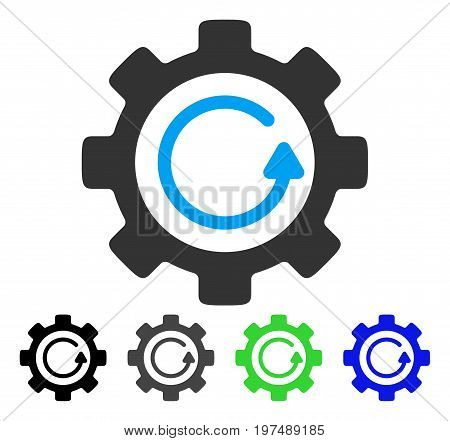 Gear Rotation Direction flat vector icon. Colored gear rotation direction gray, black, blue, green icon versions. Flat icon style for web design.