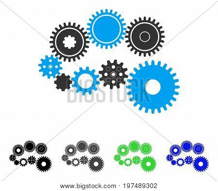 Gear Mechanism flat vector illustration. Colored gear mechanism gray, black, blue, green icon versions. Flat icon style for graphic design.