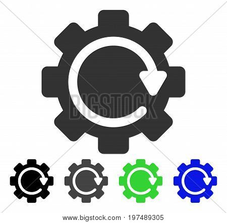 Gear Rotation Direction flat vector illustration. Colored gear rotation direction gray, black, blue, green icon versions. Flat icon style for graphic design.