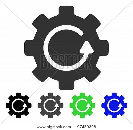 Gear Rotation flat vector pictograph. Colored gear rotation gray, black, blue, green icon versions. Flat icon style for application design.