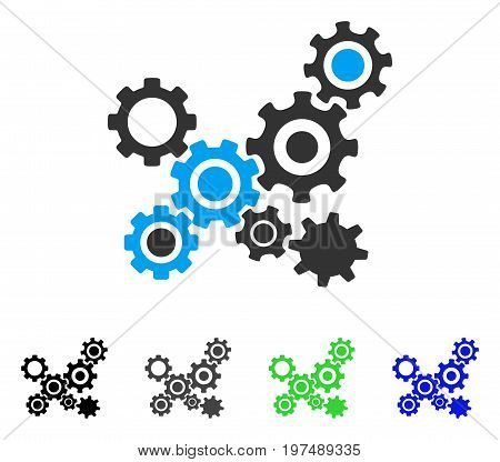 Gears Mechanism flat vector illustration. Colored gears mechanism gray, black, blue, green icon versions. Flat icon style for graphic design.