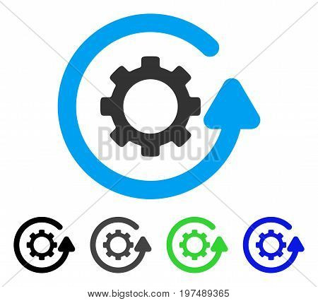 Gearwheel Rotation Direction flat vector illustration. Colored gearwheel rotation direction gray, black, blue, green icon versions. Flat icon style for application design.