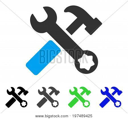Hammer And Wrench flat vector illustration. Colored hammer and wrench gray, black, blue, green pictogram versions. Flat icon style for graphic design.