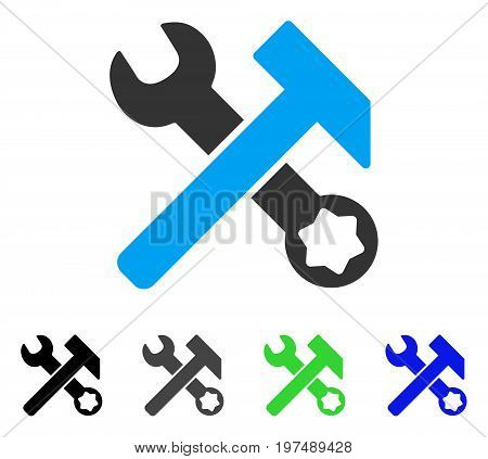 Hammer And Wrench flat vector icon. Colored hammer and wrench gray, black, blue, green icon versions. Flat icon style for application design.