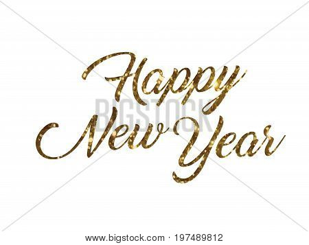The golden glitter of isolated hand writing word HAPPY NEW YEAR on white blackground