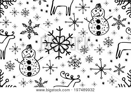 Christmas doodle pattern with hand drawn deer Christmas tree gingerbread Christmas toys snowman santa gifts and socks. illustration