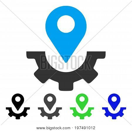 Service Map Marker flat vector pictograph. Colored service map marker gray, black, blue, green pictogram versions. Flat icon style for graphic design.