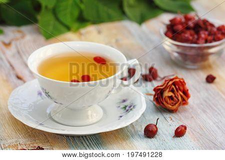 Tea With Rosehip On A Table. Useful Drink For Health. Herbal Tea.