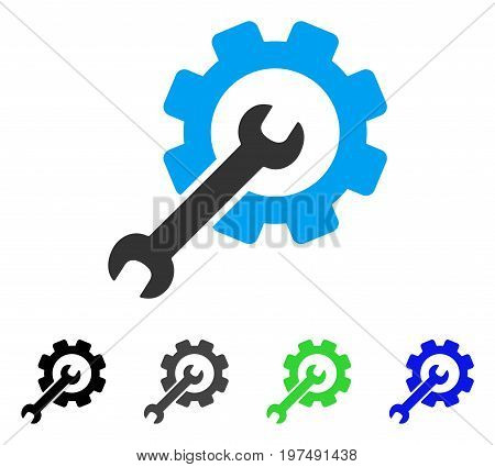 Setup Tools flat vector pictograph. Colored setup tools gray, black, blue, green icon versions. Flat icon style for application design.