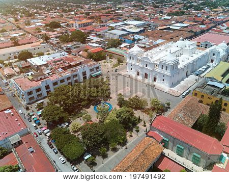 Central square of Leon city in Nicaragua aerial view. Panorama of Leon town