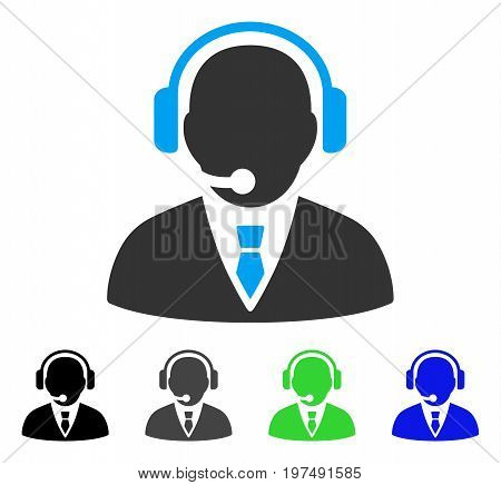 Support Manager flat vector pictograph. Colored support manager gray, black, blue, green icon versions. Flat icon style for graphic design.