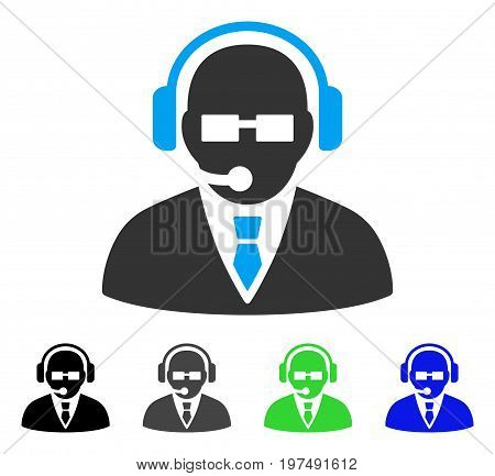 Support Manager flat vector pictograph. Colored support manager gray, black, blue, green pictogram variants. Flat icon style for graphic design.