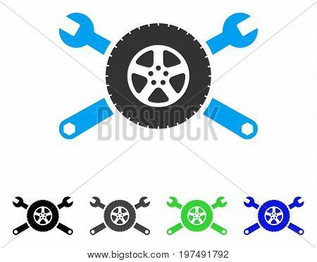 Tire Service Wrenches flat vector pictograph. Colored tire service wrenches gray, black, blue, green icon variants. Flat icon style for web design.