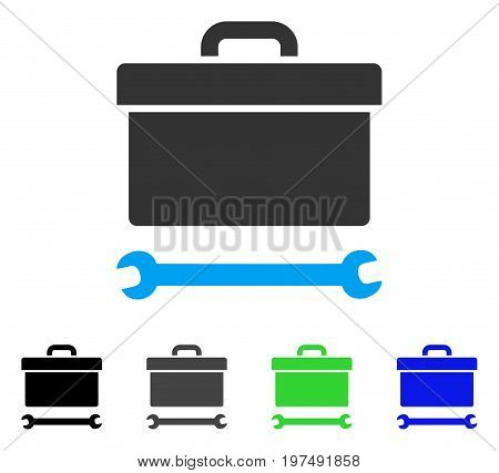 Toolbox flat vector illustration. Colored toolbox gray, black, blue, green icon versions. Flat icon style for application design.