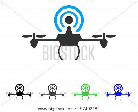 Wifi Repeater Drone flat vector icon. Colored wifi repeater drone gray, black, blue, green pictogram variants. Flat icon style for graphic design.