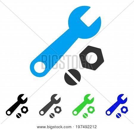 Wrench And Nuts flat vector illustration. Colored wrench and nuts gray, black, blue, green icon versions. Flat icon style for web design.