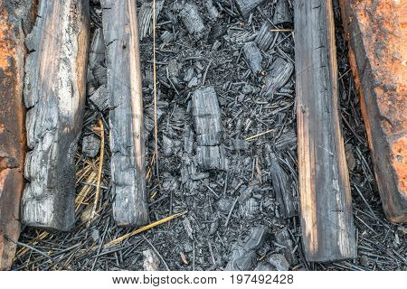 Burnt Wood Or Charcoal Background
