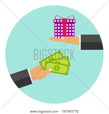 Money in exchange for a gift one hand holds out the money the other hand is a gift. Flat design vector illustration vector.