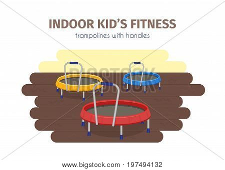 Jumping trampoline vector flat realistic icon. Isolated trampoline set for children for fun indoor or outdoor sport fitness jumping