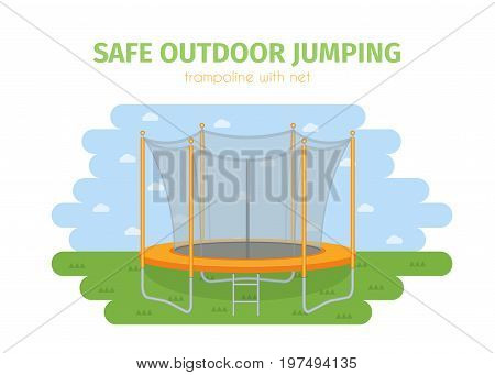 Jumping trampoline vector flat realistic icon. Isolated safe trampoline with net for children or famnily for fun outdoor garden or park sport fitness jumping