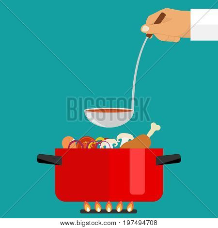The hand holds a ladle of soup. Casserole with soup on fire. Flat design vector illustration vector.