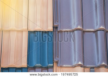 Closeup Of Colored Clay Roof Tiles Background 2