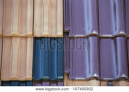 Closeup Of Colored Clay Roof Tiles Background 4