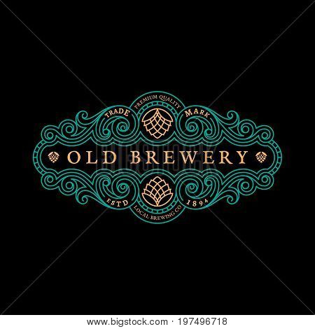 Vintage flourishes elegant ornament label template with hop in trendy linear style. Vector illustration.