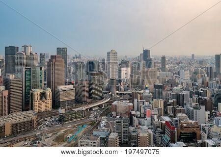Osaka City Views from Umeda Sky Building in Osaka city Japan.