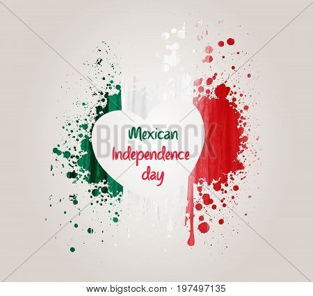 Mexican Independence day background with grunge heart in flag colors. Concept for Independence day poster flyer banner etc.