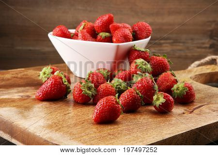 Fresh Strawberry. Loosely Laid Strawberries In Different Positions.