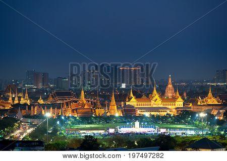 Wat Phra Kaew and Grand palace in Bangkok Thailand. Wat Phra Kaew is famous temple in Thailand.