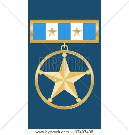 Medal of a gold star a medal with a shoe. Flat design vector illustration vector.