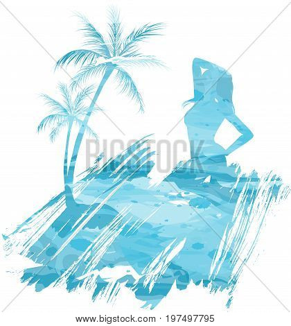 Abstract painted splash shape with silhouettes. Travel concept - palm trees partying girl. Multicolored watercolor imitation vector illustration.
