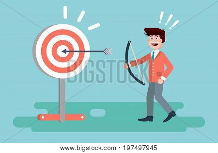 Stock vector illustration businessman hits target successful shot from bow advancement right solution excellent business success marketing achievement luck idea progress victory start-up in flat style.