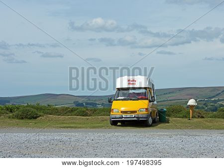 An old Ice cream Van parked plying for trade in the middle of Dartmoor National Park Devon England 2017