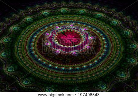 Fractal julian concentric circles and wave flower