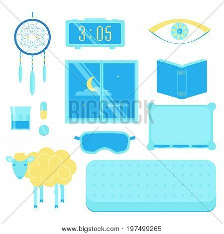 Sleep icon set. Stock vector illustration of insomnia and sleep problems objects isolated on white background. Flat style