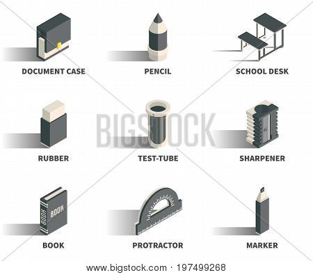 Simple Set of 3D Isometric Icons. Contains such Icons as document case pencil school desk rubber test-tube sharpener book protractor marker.