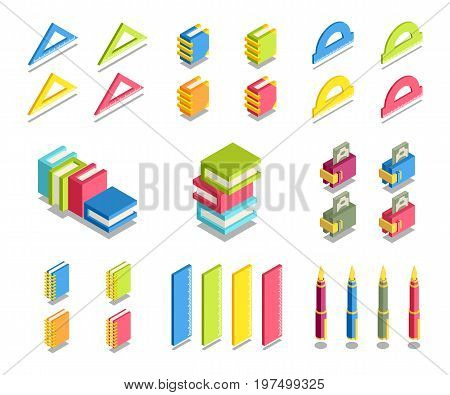 Simple Set of 3D Isometric Icons. Contains such Icons as ruler book protractor wallet money pen notebook.