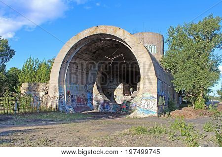 KYIV, UKRAINE -JUNE 10, 2017: Old tunnel of Stalin. Part of Kyiv defense line in WW2 time. today named