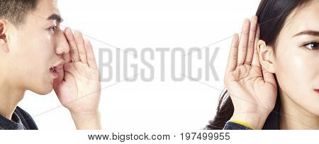 asian man speaking woman listening isolated on white background.