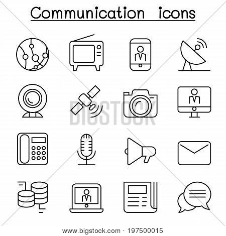 Communication icon set in thin line style