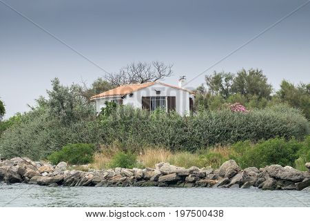 Typical Little House On Rhone River Bank. Camargue Park, France