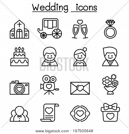 Wedding icon set in thin line style