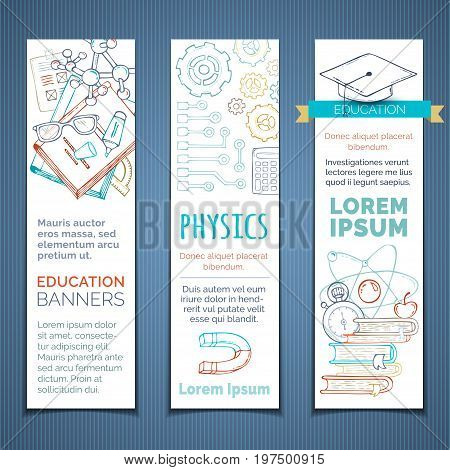 Vector Set Of Doodles Science And Education Vertical Banners.